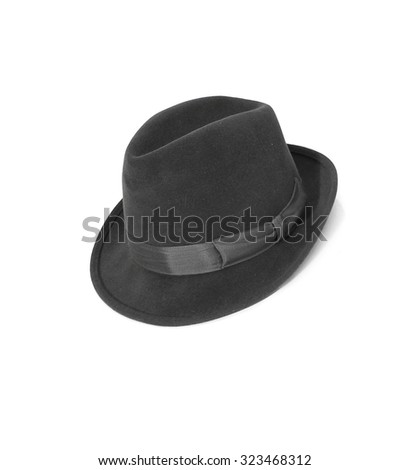 Black hat isolated on the white background - stock photo