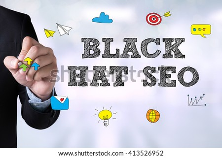 BLACK HAT SEO and Businessman drawing Landing Page on blackboard - stock photo