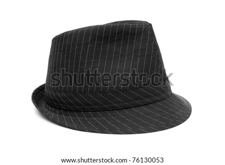 Black hat with white stripes isolated on white - stock photo