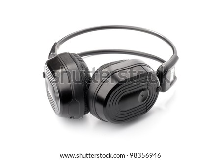 Black headphone for listening music isolated on white background