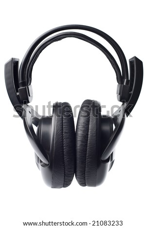 black headphones isolated