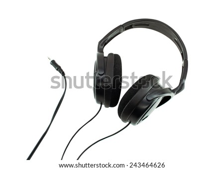 Black headphones isolated on white background with cable
