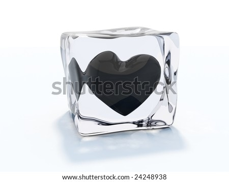 Black heart frozen in ice cube isolated on white - stock photo