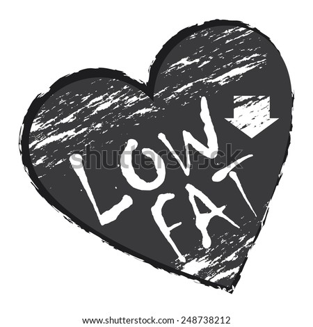 Black Heart Shape Low Fat Sticker, Icon or Label Isolated on White Background  - stock photo