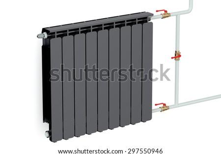 black heating radiator isolated on white background - stock photo