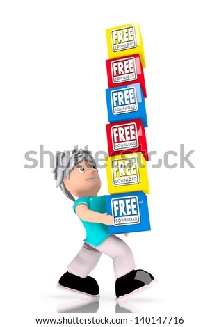 Black  heavy data 3d graphic with isolated free download stack  carried by a cute character - stock photo