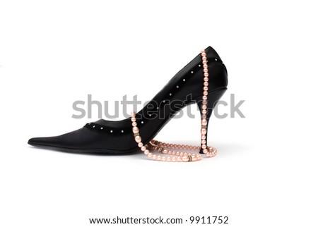 black high heel on white background - stock photo