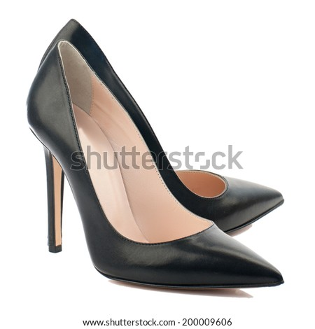 Black high heel women shoe isolated on white background. - stock photo