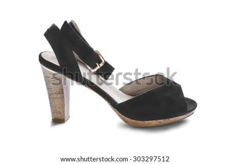 Black high heeled shoe on white background - stock photo