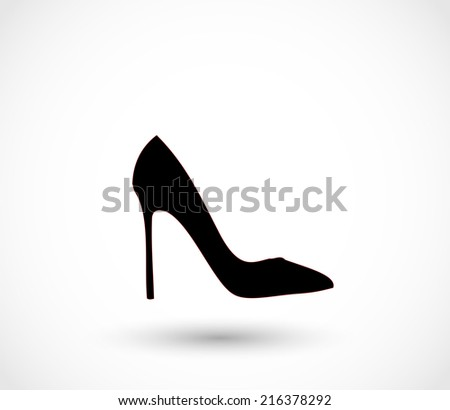 Black high heels icon - stock photo