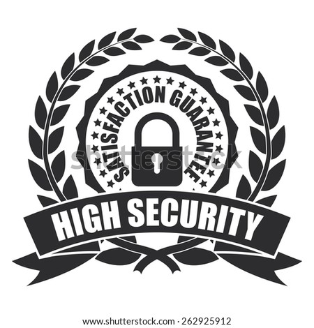 Black High Security Satisfaction Guarantee Wheat Laurel Wreath, Ribbon, Badge, Label, Sticker, Sign or Icon Isolated on White Background - stock photo