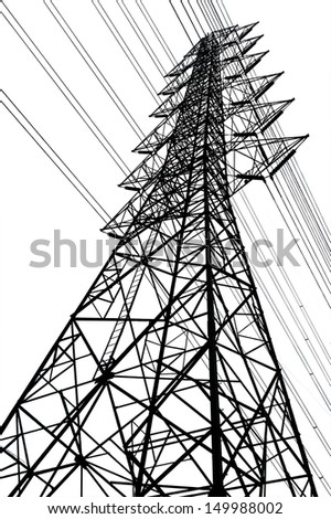 black high voltage tower ,Electric power tower with isolate white background - stock photo