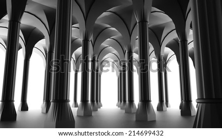 Black historic colonnade from columns rendered - stock photo