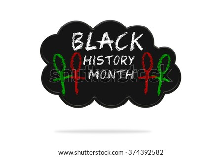 Black History Month Thought Cloud isolated on white background hanging with shadow below - stock photo