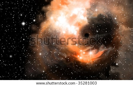Black hole and nebula - stock photo
