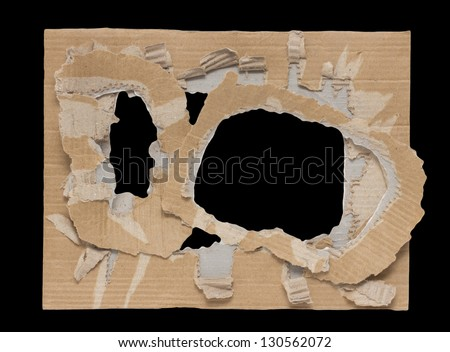 black hole in a cardboard background - stock photo