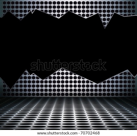 Black hole in grunge metal interior, Uneven diffuse lighting version. Design component - stock photo