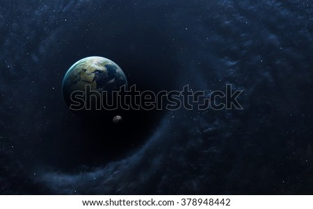 Black hole in space, earth and spacecraft. Elements of this image furnished by NASA - stock photo