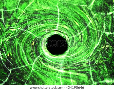 Black hole in the middle with swirling shape, green tone color