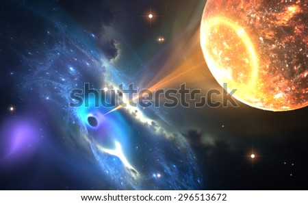 Black hole or a neutron star and pulling gas from an orbiting companion star. - stock photo