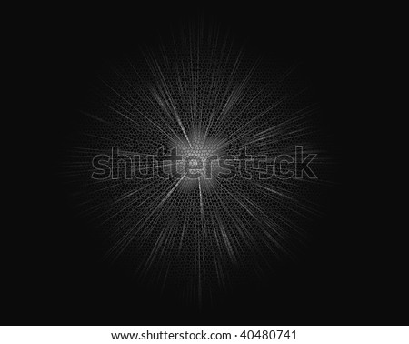 black honeycomb background with burst of white light in the center - stock photo