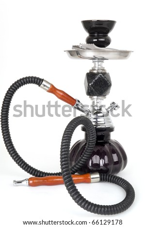Black hookah on a white background - stock photo