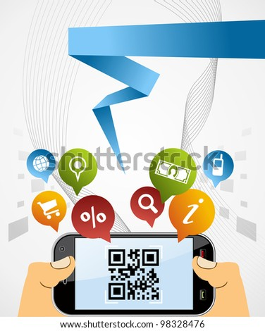 Black horizontal smartphone with QR code app on white background. - stock photo
