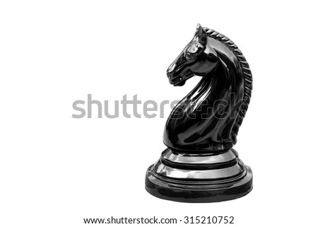Black horse chess isolated on white background, This have clipping path - stock photo
