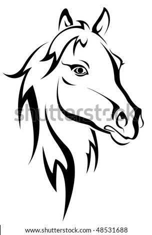 Black horse silhouette isolated on white for design. Vector version is also available  - stock photo