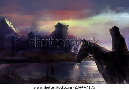 Black horseman castle. Fantasy black horse rider with background castle view illustration. - stock photo