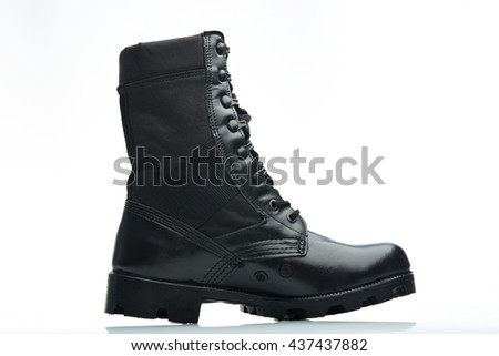 black hunting tall leather men boot side view