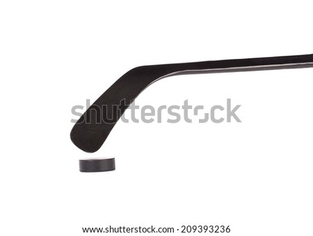 Black ice hockey stick. Isolated on a white background. - stock photo