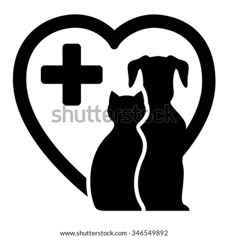 black icon with dog and cat on heart silhouette for veterinary services - stock photo