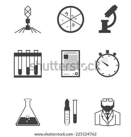 Black icons for microbiology. Set of black silhouette icons with elements for microbiology laboratory research on white background. - stock photo