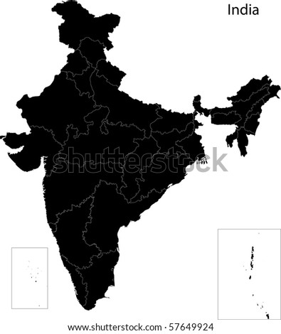 Black India map separated on states - stock photo