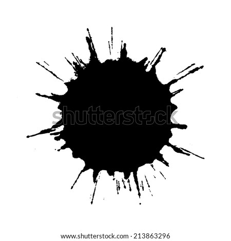 Black ink drop stain - stock photo