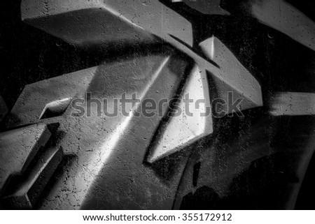 black ink grafitti design in city wall, street art segment - stock photo