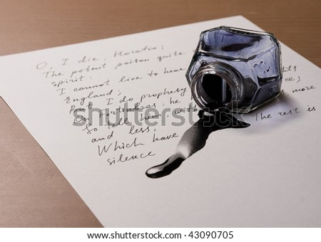 Black ink have poured on a paper with Shakespeare's verses - stock photo