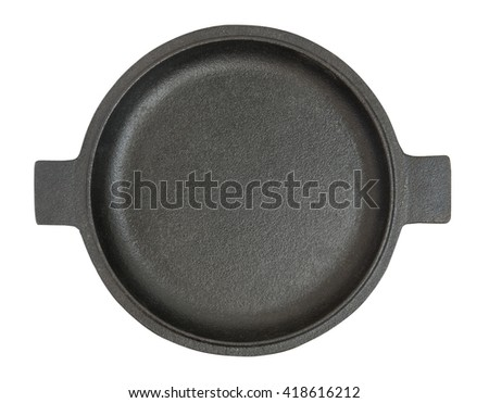Black Iron frying pan isolated on white background. Top view. - stock photo