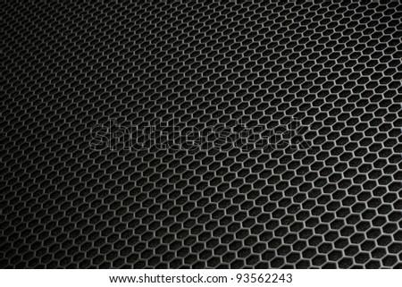 Black iron hexagonal texture. Industrial background 02. - stock photo