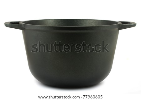 Black iron pot isolated on white background - stock photo