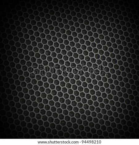Black iron speaker grid texture. - stock photo