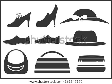 black isolated clothes objects and accessories  - stock photo