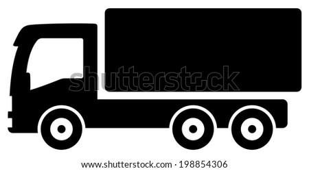 black isolated lorry silhouette - icon for cargo delivery - stock photo