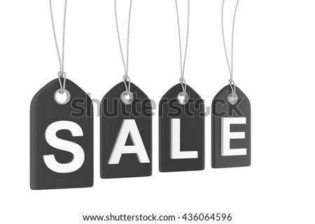 Black isolated sale labels on white background. Price tags. Special offer and promotion. Store discount. Shopping time. Black friday.  3D rendering.