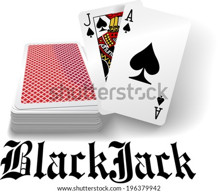 Black jack hand in spades as casino gambling playing card game - stock photo