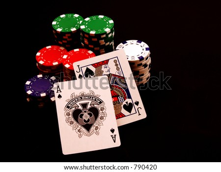 Black Jack with Chips - stock photo