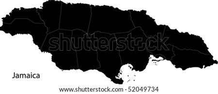 Black Jamaica map with parishes borders - stock photo