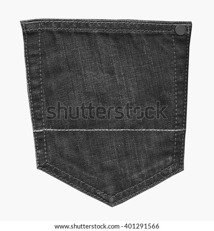 black jeans back pocket isolated on white