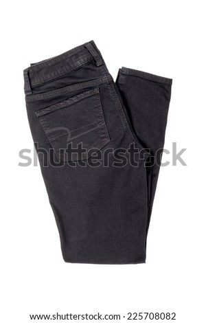 Black Jegging Jeans Isolated on White